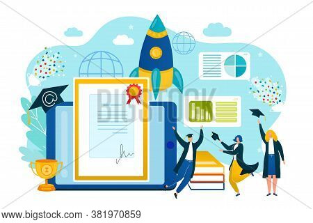 University Student Get Success Education Diploma, School College Learning Vector Illustration. Peopl