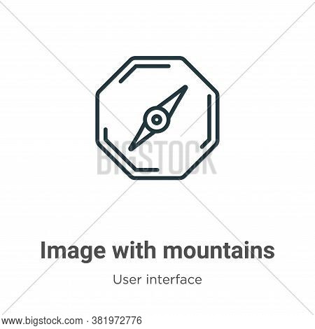 Image with mountains icon isolated on white background from user interface collection. Image with mo