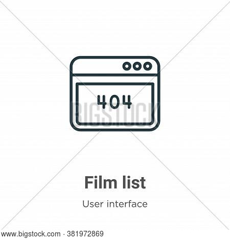 Film list icon isolated on white background from user interface collection. Film list icon trendy an