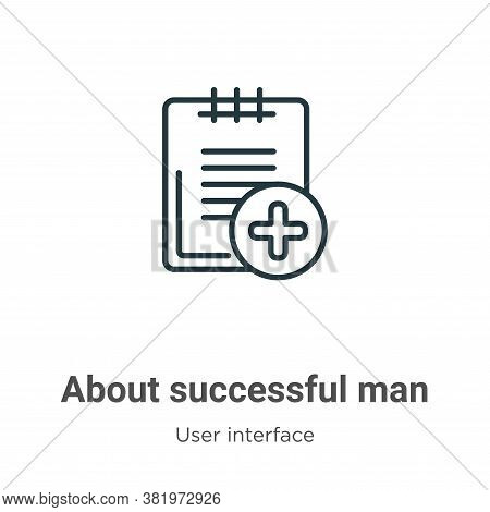 About successful man icon isolated on white background from user interface collection. About success