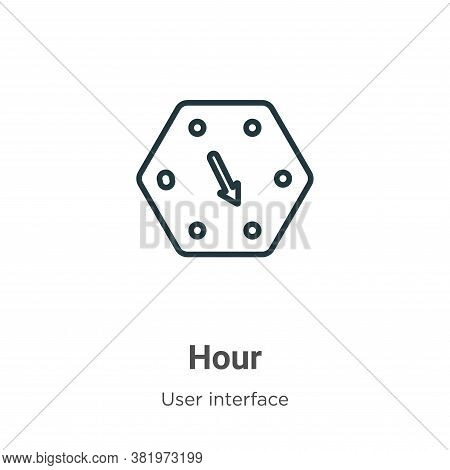 Hour icon isolated on white background from user interface collection. Hour icon trendy and modern H