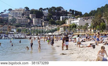Port De Soller Spain - 06 10 2019 Beach In Paradise Location On Balearic Islands. High Quality Photo