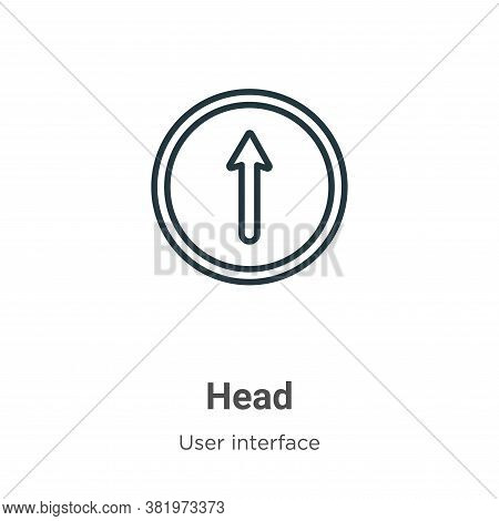 Head icon isolated on white background from user interface collection. Head icon trendy and modern H