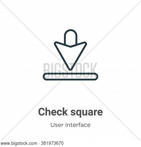 Check square icon isolated on white background from user interface collection. Check square icon tre