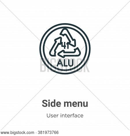 Side menu icon isolated on white background from user interface collection. Side menu icon trendy an