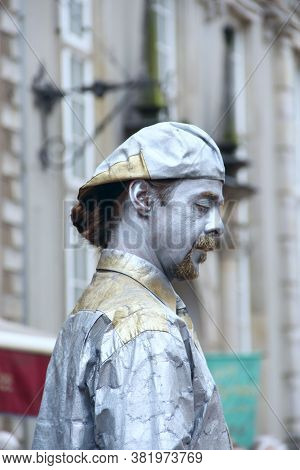 Gdansk / Poland. 21 June 2019: Face Of Man Working As Living Statue Standing On Street Of Gdansk. St