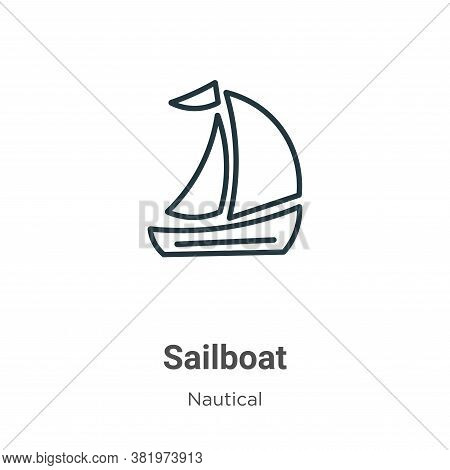 Sailboat icon isolated on white background from nautical collection. Sailboat icon trendy and modern
