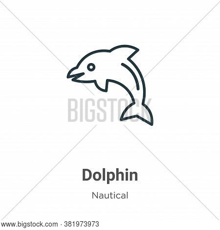 Dolphin icon isolated on white background from nautical collection. Dolphin icon trendy and modern D