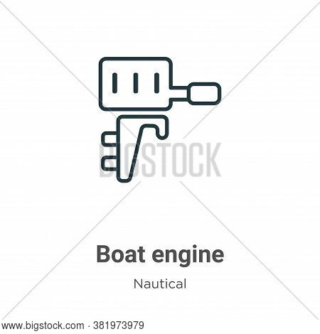 Boat engine icon isolated on white background from nautical collection. Boat engine icon trendy and