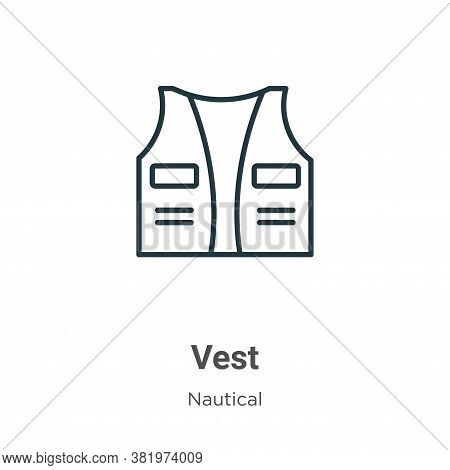 Vest icon isolated on white background from nautical collection. Vest icon trendy and modern Vest sy