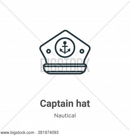 Captain hat icon isolated on white background from nautical collection. Captain hat icon trendy and