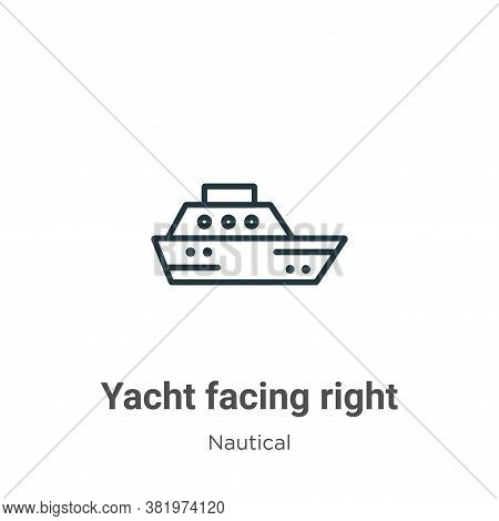 Yacht facing right icon isolated on white background from nautical collection. Yacht facing right ic
