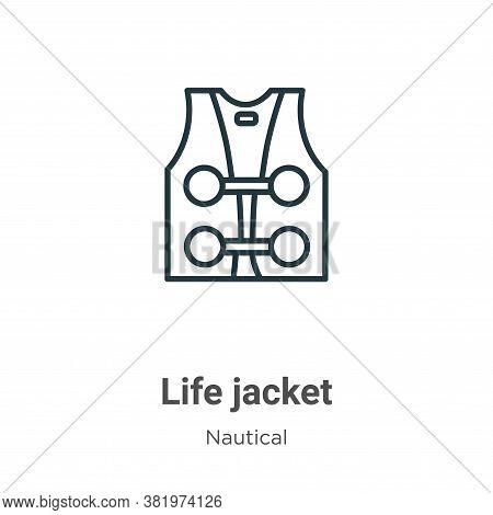 Life jacket icon isolated on white background from nautical collection. Life jacket icon trendy and