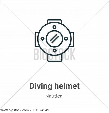 Diving helmet icon isolated on white background from nautical collection. Diving helmet icon trendy