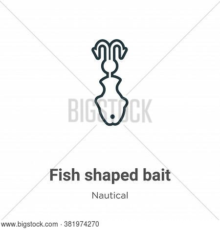 Fish shaped bait icon isolated on white background from nautical collection. Fish shaped bait icon t