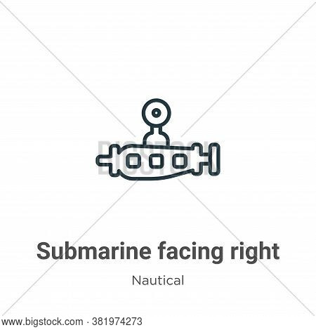 Submarine facing right icon isolated on white background from nautical collection. Submarine facing