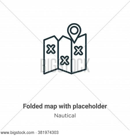 Folded map with placeholder icon isolated on white background from nautical collection. Folded map w