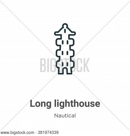 Long lighthouse icon isolated on white background from nautical collection. Long lighthouse icon tre