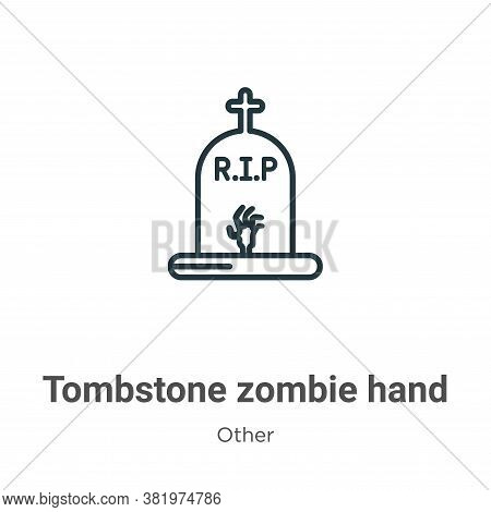 Tombstone zombie hand icon isolated on white background from other collection. Tombstone zombie hand