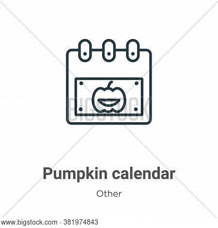 Pumpkin calendar icon isolated on white background from other collection. Pumpkin calendar icon tren