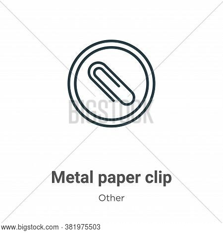 Metal paper clip icon isolated on white background from other collection. Metal paper clip icon tren