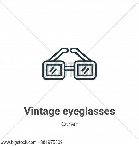 Vintage eyeglasses icon isolated on white background from other collection. Vintage eyeglasses icon