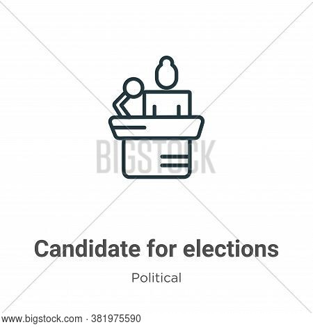 Candidate for elections icon isolated on white background from political collection. Candidate for e