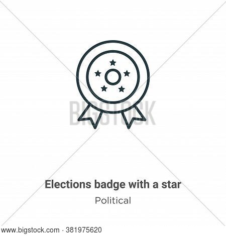 Elections badge with a star icon isolated on white background from political collection. Elections b