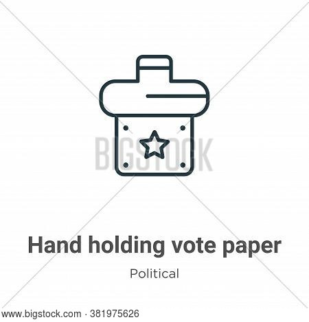 Hand holding vote paper icon isolated on white background from political collection. Hand holding vo