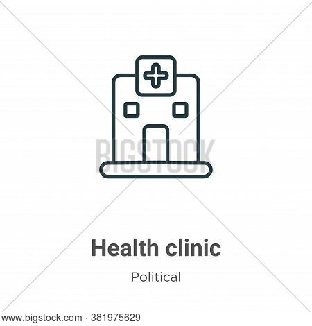 Health clinic icon isolated on white background from political collection. Health clinic icon trendy