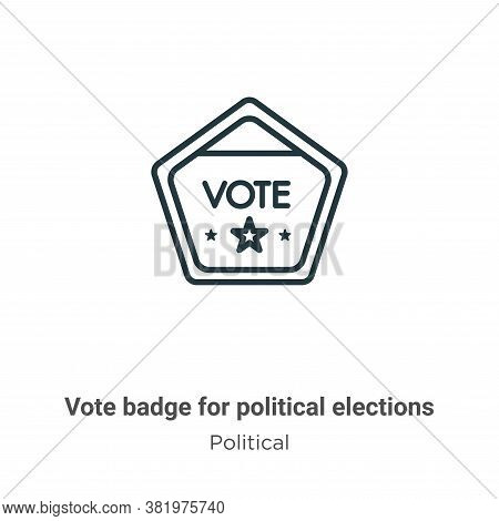 Vote Badge For Political Elections Icon From Political Collection Isolated On White Background.