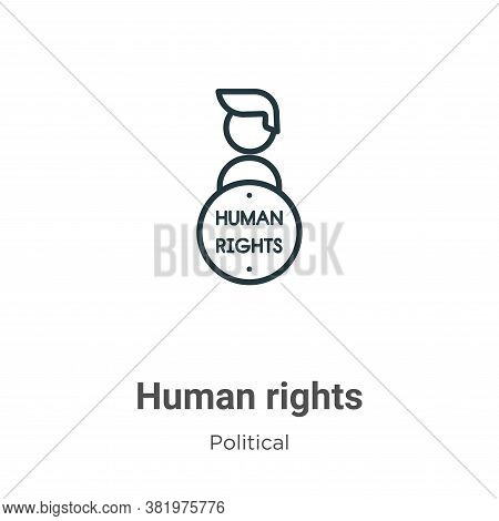 Human rights icon isolated on white background from political collection. Human rights icon trendy a