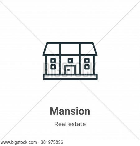 Mansion icon isolated on white background from real estate collection. Mansion icon trendy and moder