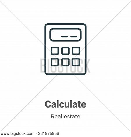 Calculate icon isolated on white background from real estate collection. Calculate icon trendy and m