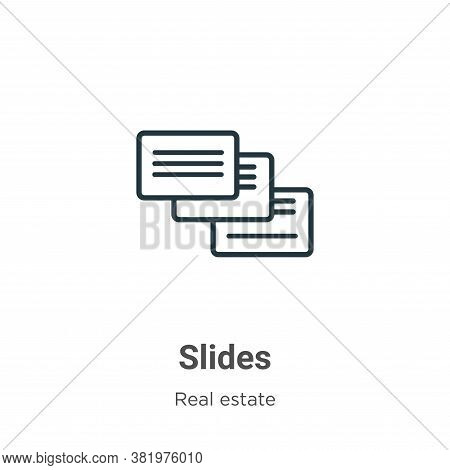 Slides icon isolated on white background from real estate collection. Slides icon trendy and modern