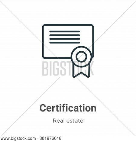 Certification icon isolated on white background from real estate collection. Certification icon tren