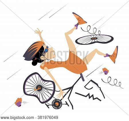 Cyclist Falling Down From The Bicycle Isolated Illustration. Cyclist Woman Falling Down From The Bic