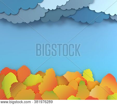 Autumn Forest Background Layout Decorate With Clouds And Trees For Shopping Or Promo Poster And Fram
