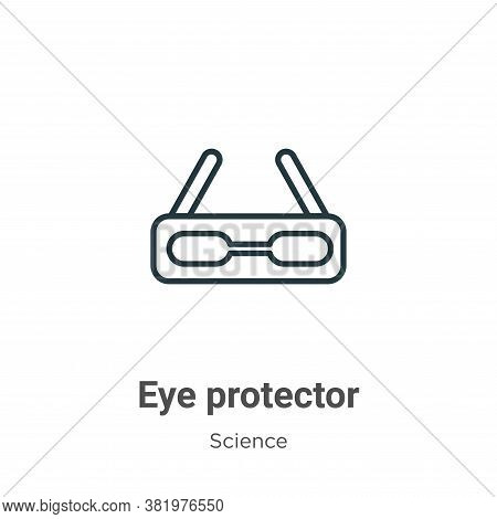 Eye protector icon isolated on white background from science collection. Eye protector icon trendy a