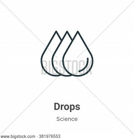 Drops icon isolated on white background from science collection. Drops icon trendy and modern Drops