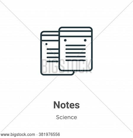 Notes icon isolated on white background from science collection. Notes icon trendy and modern Notes