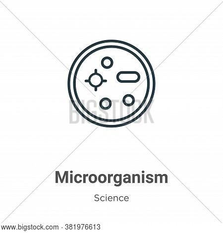 Microorganism icon isolated on white background from science collection. Microorganism icon trendy a