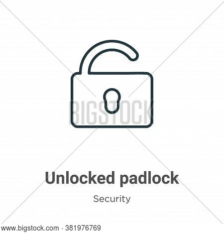 Unlocked padlock icon isolated on white background from security collection. Unlocked padlock icon t