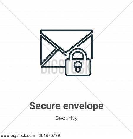 Secure envelope icon isolated on white background from security collection. Secure envelope icon tre