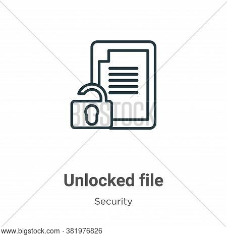 Unlocked file icon isolated on white background from security collection. Unlocked file icon trendy