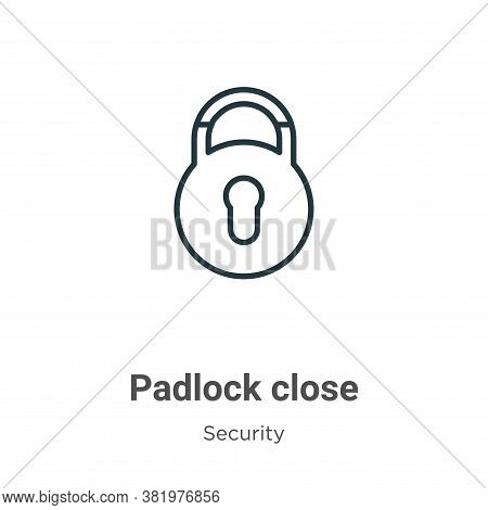 Padlock close icon isolated on white background from security collection. Padlock close icon trendy