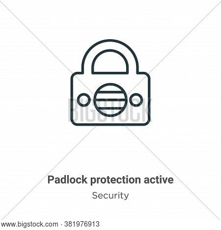 Padlock protection active icon isolated on white background from security collection. Padlock protec