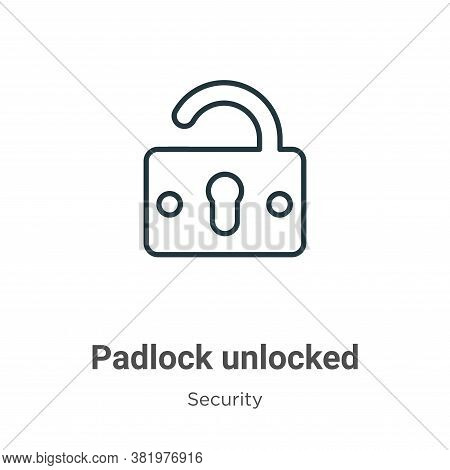 Padlock unlocked icon isolated on white background from security collection. Padlock unlocked icon t