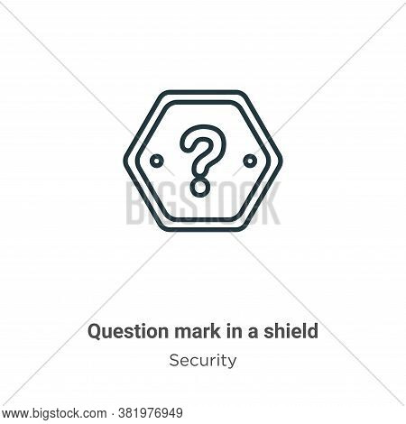 Question mark in a shield icon isolated on white background from security collection. Question mark