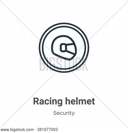 Racing helmet icon isolated on white background from security collection. Racing helmet icon trendy